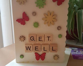 Get well card, Shabby chic style, hancrafted, cheerful. Flowers and butterflies