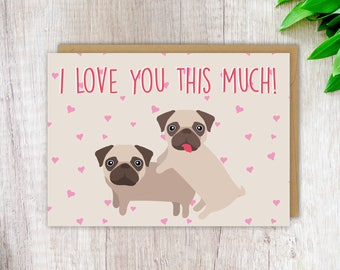 Anniversary Card Wedding Card I Love You This Much Greeting Card Card for Boyfriend Card for Girlfriend Card for Husband Card for Wife Love