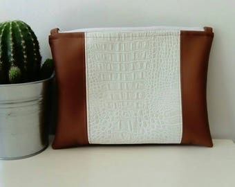 pouch - white and camel handbag faux leather