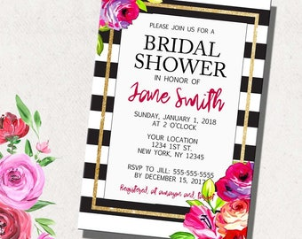 Floral Stripe Bridal Shower Invite