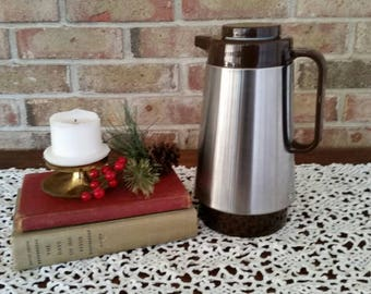Vintage Corning Thermique-Vintage Coffee Thermos-Stainless Steel Thermos- French Country Decor-Farmhouse Decor