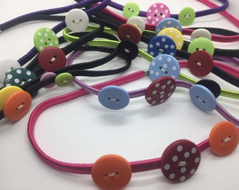 Button Headband Hand Sewn Multiple Color Options