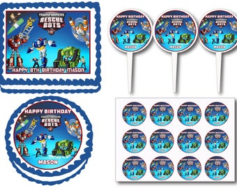 Transformers Rescue Bots Birthday Party Edible Cake Cookie Toppers or Plastic Cupcake Pick Stickers Decoration Baking Supply
