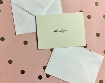 Elegant Classic Thank You 8 Blank Notecards and Envelopes