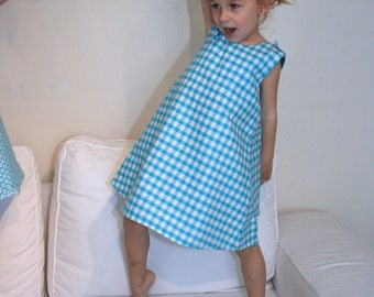 Gingham blue turquoise white 4-6 years model unique trapeze dress