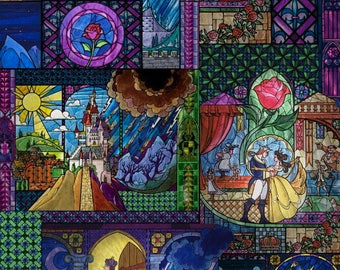 Beauty and the Beast Stainglass Baby Blanket