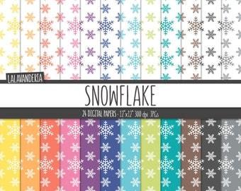 Snowflake Digital Paper Pack. Rainbow Snowflakes Backgrounds. Printable Colorful Geometric Patterns. Winter Digital Scrapbook Download