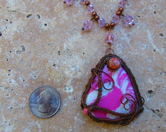 Pink Turquoise (man made) with Agate, Jasper beads