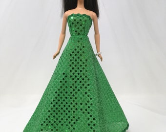 "Emerald Green Doll Dress-11.5"" Doll Clothes-Green Doll Dress-Doll Dress-Green Holiday Dress-Christmas Dress-Sparkly Party Dress-Girls Gifts"