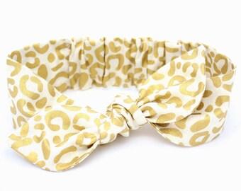 Leopard Spot Gold baby headband, cream gold leopard baby, knot baby headband, girls headband, metallic gold cream, cream leopard headband