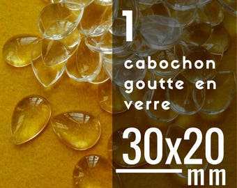 1 cabochon Teardrop glass pendant - 30 x 20 mm - 20 x 30 mm