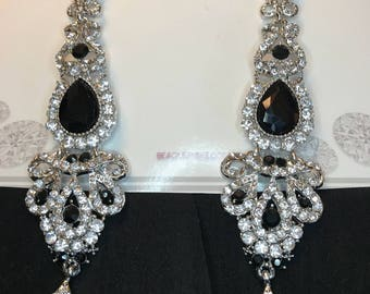 Black and Clear Crystal Pierced Chandelier Earrings