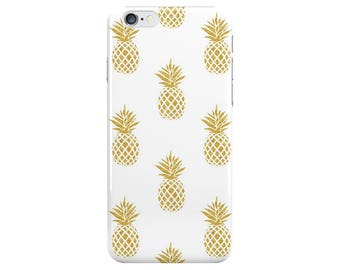 Gold Pineapple Food White Summer Phone Case Cover for Apple iPhone 5 6 6s 7 8 Plus & Samsung Galaxy S6 S7 S8 Plus