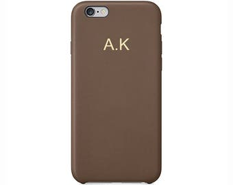 Personalised Brown PU Leather Phone Case for Apple iPhone 5 6 6s 7 8 10 X Plus Embossed Cover Name initials Customized Monogram