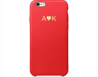 Personalised initials Red PU Leather Love Heart Phone Case for Apple iPhone 5 6 6s 7 8 10 X Plus Embossed Cover Customized Monogram