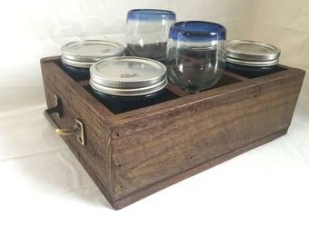Rustic mason jar holder with brass handles