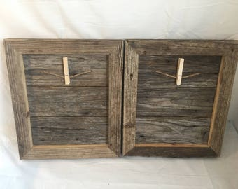 Set of 2 reclaimed wood picture frames with hanger