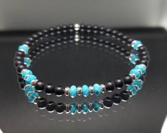 Cool Campitos Turquoise & Midnight Matte Black Onyx Stretch Bracelet