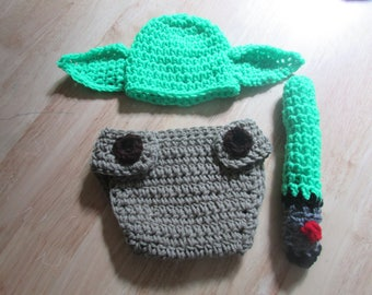 Crochet Baby Yoda Star wars Photo Prop Set with Light Saver Newborn to 12 Months
