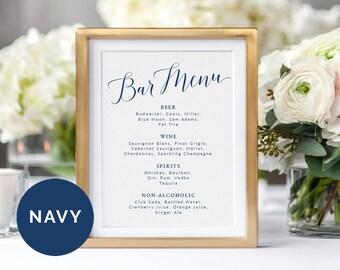 Navy Wedding Bar Menu Sign Template | Printable Bar Menu Wedding Sign | DIY Wedding Sign Bar Menu Printable | Table Sign Wedding Template