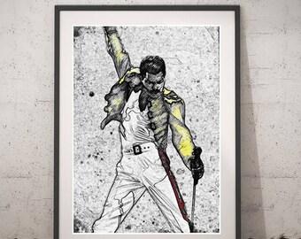 Freddie Mercury printable portrait, Freddie Mercury digital art, Instant download Wall art, Queen Poster, Freddie Mercury print decor, Queen