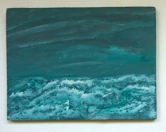Abstract Original Painting, Acrylics on Wooden Panel, Seascape