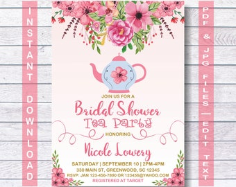 Bridal Shower Tea Party Invitation, Bridal Shower Tea, Bridal Shower Tea Invitation, Instant Download, Vintage Bridal Tea Party, Bridal Tea
