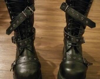 90s Platform Boots Demonia Brand Cosplay Shoes Unisex - Men's Size 10 - Vegan