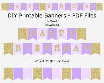 Happy Birthday Banner - Light Purple, Pale Purple & Gold Glitter - PRINTABLE - INSTANT DOWNLOAD