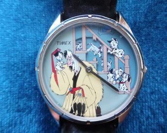 Rare Disney's 101 Dalmatians Genuine Leather Timex Watch
