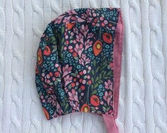 Trailing Blooms - Reversible Baby Bonnet