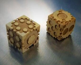 Set of Wooden Gear Dice