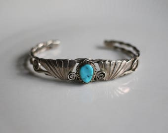 Sterling Silver Turquoise Navaho Cuff Bracelet