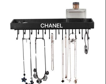 Leather Hanging Jewelry Organizer - Designer Inspired Chanel
