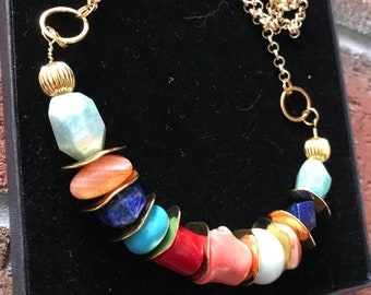 Amazonite, lapis Lazuli, Turquoise, Coral gold plated Rolo chain handmade gemstone bohemian necklace.