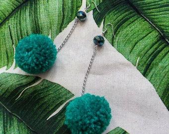 Green pompom drop earrings, handmade