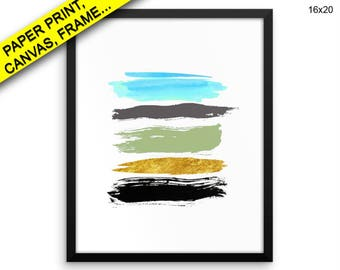 Brush Canvas Art Abstract Printed Brush Living Room Art Abstract Living Room Print Brush Framed Art Abstract watercolor lines abstract Decor
