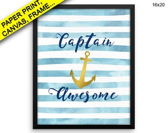 Awesome Canvas Art Captain Printed Awesome Framed Art Captain Anchor Watercolor Print, Beautiful Wall Art with Frame and Canvas Decor