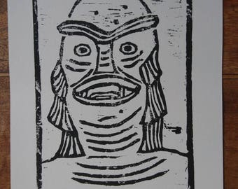 The Creature Woodcut Print