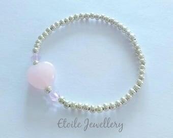 Pink Heart Bracelet, Girls Bracelet, Silver Bracelets, Childrens Bracelets, Stretch Bracelets, Beaded Bracelets,Heart Jewellery