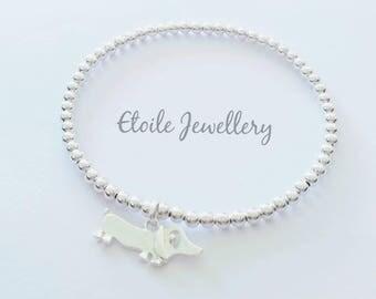 Silver Sausage Dog Bracelet, Sausage Dog Gifts, Sausage Dog Jewellery, Dachshund Gift, Dachshund Bracelet, Dachshund Jewellery, Dog Bracelet