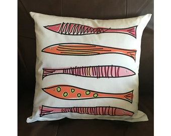 Pink Fish Throw Pillow
