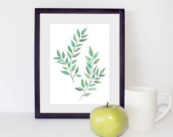 Laurel Printable art, Laurel Leaves Watercolor, Laurel leaf art, Botanical Print, Leaves Watercolor, Fine Art, Living room art, Home Art