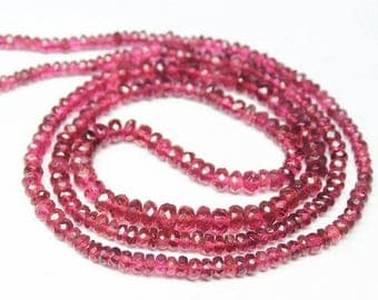 "Rubellite Pink Tourmaline Rondelle Faceted Gemstone Craft Beads Strand 11"" 2mm 5mm"