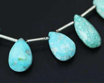 "Sleeping Beauty Arizona Turquoise Faceted Pear Drop Gemstone Craft Loose Beads Strand 4"" 12mm 10mm"