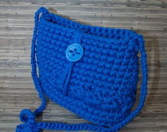 Elegant Lady hand bag, crochet, handmade, unique blue