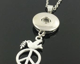 Silver Peace Sign Snap Button Necklace Large Circle 18mm Snaps Fit, Noosa Snap, Ginger Snap, Chunk Snap, USA Seller, 1 piece