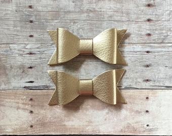 faux leather bows, Gold leather bow, headband hair bow, 2 1/2 inch leather bow, Leather bow hair clip, baby hair bow