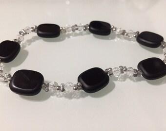 Black Glass Bead Stretch Bracelet