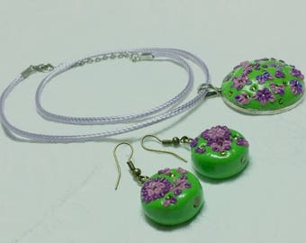 Greenish Purple Polymer Clay Jewellery
